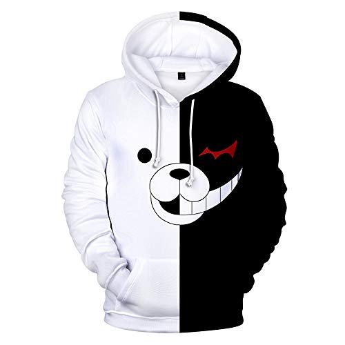 TIMSOPHIA Monokuma Jacke Hoodie, Anime Kapuzenpolluver, Schwarz Weiß Bären Sweatshirt Manga Cosplay Unisex Gr. M