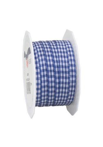 Präsent - VICHY Geschenkband - royalblau/weiss - 20-m-Rolle 10 mm
