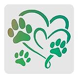 FINGERINSPIRE Plantilla de decoración de corazón de huellas 30 x 30 cm de plástico con huella de animal para dibujar plantillas cuadradas reutilizables para pintar sobre madera, piso, pared y azulejos
