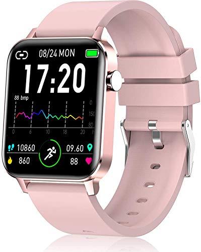 YSNJG Smart Watch, Rastreador De Fitness con Pantalla Táctil 1.4', Monitor Frecuencia Cardíaca, Reloj Pedómetro Ip68 A Prueba Agua, Sueño,Rosado