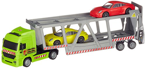 Dickie Toys 203747005 Car Transporter Autotransporter inkl. 2 Porsche-Fahrzeugen mit Friktionsantrieb