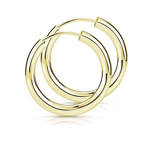Materia Creolen Gold klein 20mm - 925 Sterling Silber Ohrringe Damen Mädchen rund leicht Gelbgold vergoldet SO-82