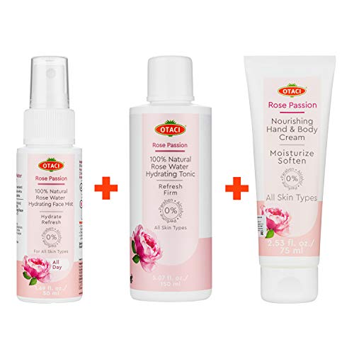 Otaci Rose Passion Revive Bundle, Hydrating Toner, Face Mist, Hand and Body Cream