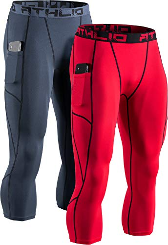 ATHLIO Men's 3/4 Compression Pants, Cool Dry Capri Athletic Leggings, Running Workout Tights, Yoga Gym Base Layer, Pocket 2pack(bcp48) - Charcoal/Red, X-Large