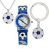 Relda Jungen Fußballuhr, Hundemarke, Halskette, Schlüsselring Geschenkset REL49