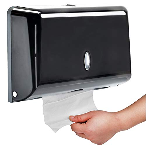 AIFUSI Paper Towel Dispensers, Wall Mount C-Fold/Multifold Paper Towel Dispenser Commercial Toilet Tissue Dispensers Paper Towel Holder for Bathroom, Kitchen(Black)