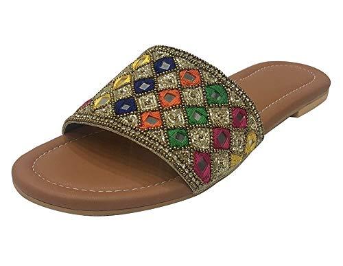 Flache Party Sandalen Schuhe für Frauen Flache Juttis Indische Sandalen Slipon, Mehrfarbig - mehrfarbig - Größe: 40 EU