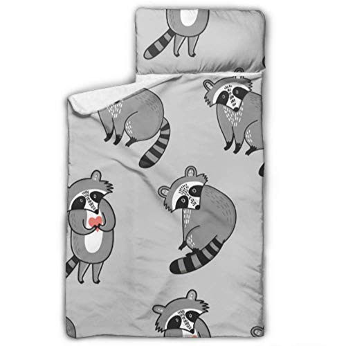 """WUTMVING Cute Cartoon Raccoon Toddler Cot Sleeping Bag Toddler Girls Nap Mat with Blanket and Pillow Rollup Design Great for Preschool Daycare Sleepovers 50""""x20"""""""