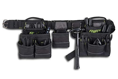 AWP General Construction Carpenter Tool Rig   Padded Adjustable Tool Belt   Black   Fits Up to 50' Waist Size