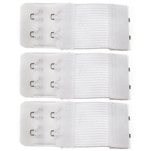 3er BH-Verlängerung BH 2-Haken Unterwäsche Verschluss Erweiterung Set Weiß