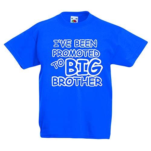 Print my Tee Promoted to Big Brother, maglietta divertente per ragazzi, idea regalo per bambini dai 3 ai 13 anni Blu 3-4 Anni