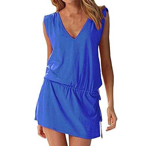 Moceal - Vestido sin mangas para mujer, de verano, sexy, para la playa, informal, tallas grandes, para cócteles, ceremonias, fiestas azul oscuro S-XL