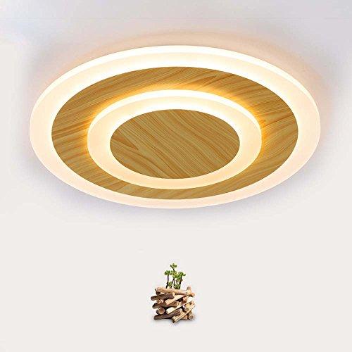 Plafondspot - sober en moderne LED kunsthout rond dunne plafondlamp slaapkamer woonkamer eetkamer balkon hal plafondlamp (afmetingen, lichtkleur optioneel) warme plafond