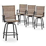 PatioFestival Patio Swivel Bar Stools Set of 4 Outdoor High Bistro Stools Height Chairs Dining Chairs All Weather Garden Furniture(Brown)