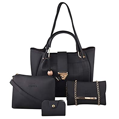 GM Creations™ PU Leather Latest Trendy Fashionable Ladies Top Handle Handbag With Sling Bag Shoulder Bag & Clutch Combo 4pcs Purse Set For Women And Girl Bag