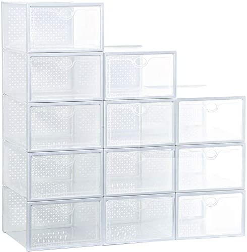 Stackable Shoe Box 12 Pack Large Clear Plastic Shoe Storage Foldable Sneaker Storage Fit for product image