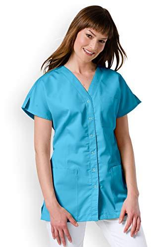 CLINIC DRESS - Kasack Damen Türkis 1/2-Arm Druckknöpfe türkis XL