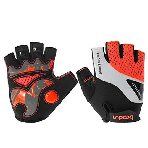 Trainingshandschuhe Handschuhehalber Finger rutschfeste atmungsaktive Schnelltrocknungsgeräte Kurzhantel Yoga Fitnesshandschuhe-red_M Kletterhandschuhe