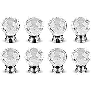 8pcs 30mm Crystal Glass Door Knobs Clear Round Diamond Pull Handle Drawer Cabinet Furniture Kitchen