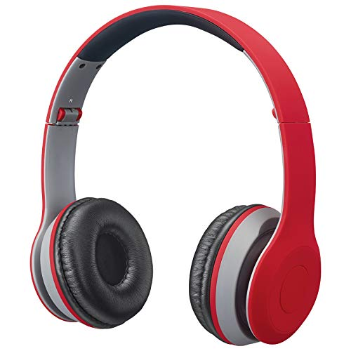iLive Bluetooth Head Phones, with On-Ear Controls, Matte Red (IAHB38R)