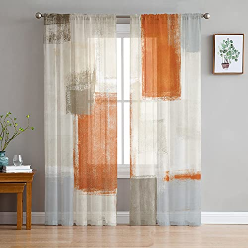 Orange Brown Gray Beige Sheer Curtains 84 Inch Length 2 Panels Set, Abstract Oil Painting Texture Semi Transparent Voile Rod Pocket Curtains for Living Dining Room Bedroom Drapes