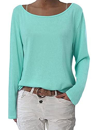 ZANZEA Mujer Camisetas Holgada Cardigan Manga Larga Suelta Blusa Jersey Pullover Casual Tops Menta Verde XL