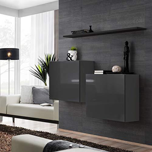 ASM Switch I Sideboard Set mit Wandregal 130cm breit Zwei quadratische Schränke Push-CLICK Türen schwarz grau hochglanz