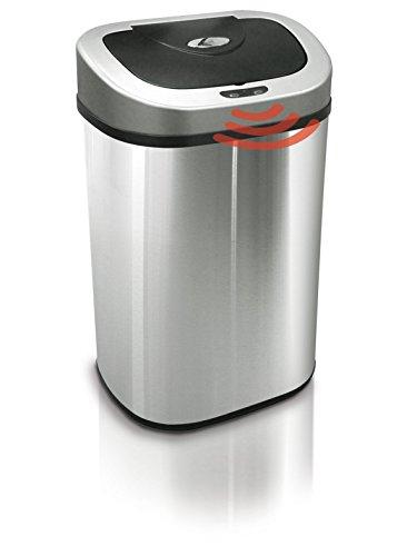 Extra grande 80 litros de capacidad para todos su General hogar cocina comida basura y reciclables, Twin Duo 2 compartimientos de reciclaje, 40 l + 40 L, movimiento automático Sensor cubo de la basura, reciclar basura