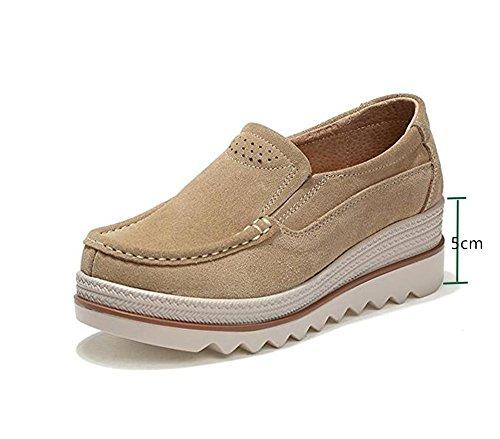 Mujer Mocasines Plataforma Casual Loafers Primavera Verano Zapatos de Cuña 5cm Negro Azul Caqui 35-42
