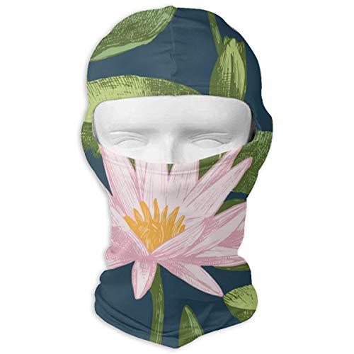 NOBRAND Full Face Masker Water Lelie Bloemen Vector Imag Hood Zonnebrandcrème Masker Dubbele Laag Koud Voor Mannen En Vrouwen