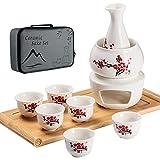 LOUTYTUO Juego de sake de cerámica + bandeja de bambú caliente, cocina de cerámica, 10 unidades, incluye recipiente térmico, botellas, bandeja para 6 tazas y caja de regalo