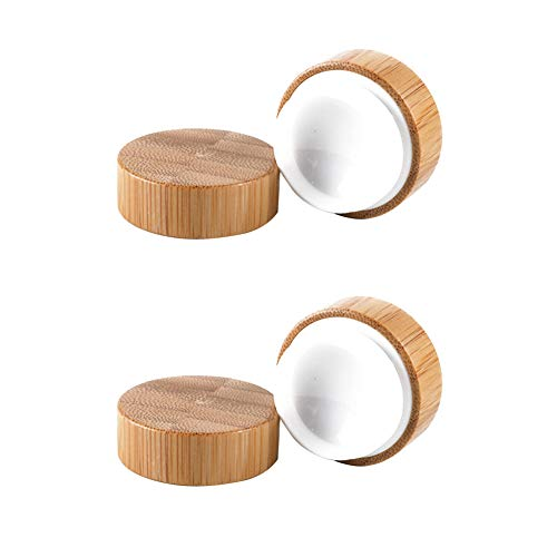 2pcs Bambú Envase Cosmético De Maquillaje De Madera Muestra Olla Tarro Viaje...