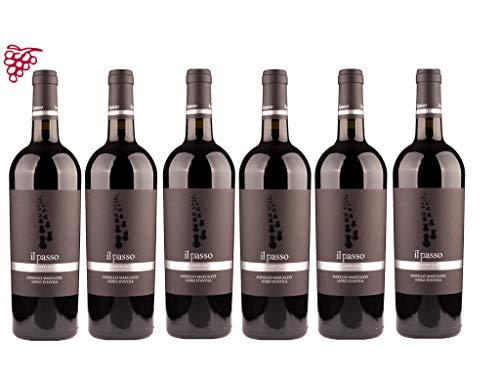 6er Vorteilspaket | Il Passo Nerello Mascalese Sicilia IGT 2018 | Vigneti Zabu | Rotwein aus Sizilien | 6 x 0,75l | mit Weinausgießer Dropstopp