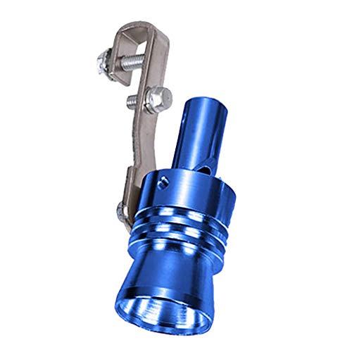 Alecony Auto Turbo Sound Pfeife Auspuff Whistle Rohr Endrohr, Aluminium Auspuffrohr Blow Off Ventil, Auspuffanlage Ausblasventil Simulator, Abgasrohrleitungen Schalldämpfer für Auto Motorrad (Blue, L)