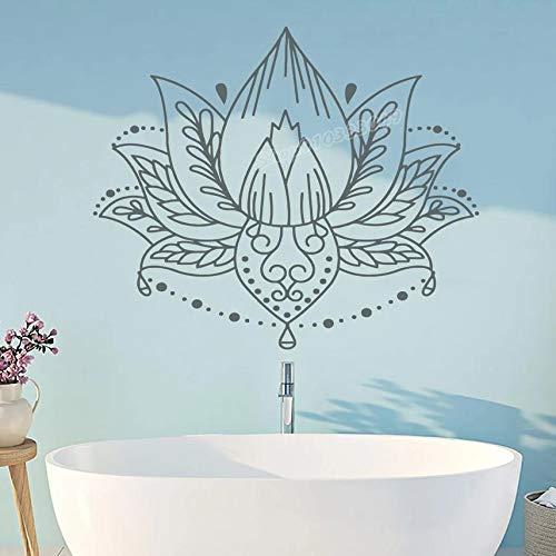 Calcomanía de pared de loto Bohemia vinilo Mandala pegatina de pared Lotus Yoga Studio decoración de pared Lotus calcomanía decoración de dormitorio