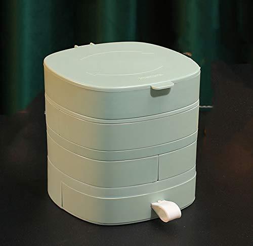 organizador de joyas joyero,Joyero Organizador Caja Joyero Organizador 4 Niveles Rotación de Joyero de Viaje Pequeño con Tapa Almacenamiento para Anillos Pendientes Collar para (Blanco,rosa,verde)