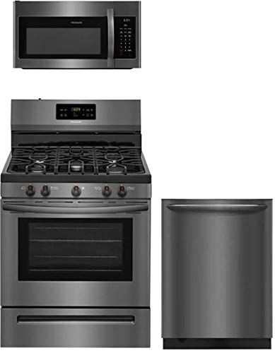 Frigidaire 3 Piece Kitchen Appliance Package with FFGF3054TD 30' Gas Range FFMV1645TD 30' Over the Range Microwave and FGID2479SD 24' Built in Dishwasher in Black Stainless Steel