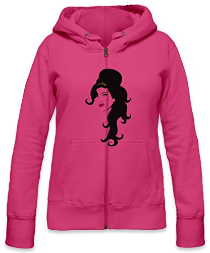 Amy Winehouse Stencil Womens Zipper Hoodie X-Large