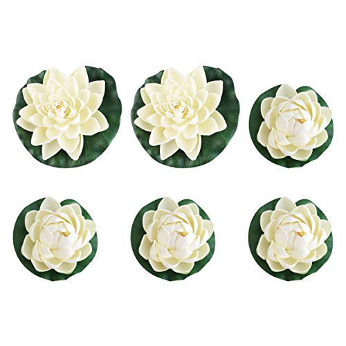 IMIKEYA 6Pcs White Lotus Foam Flower, Floating Pond Decor Water Lily, for Wedding Aquariums Decoration