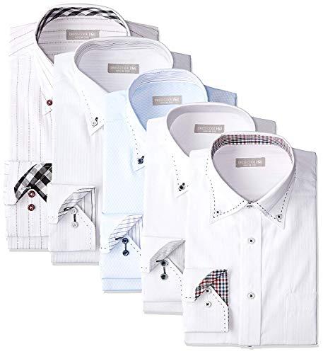[ドレスコード101] ワイシャツ 福袋 5枚セット 好印象を与えるデザイン 形態安定 透けにくい 中身がわかる Yシャツ ビジネス FUKU-5 メンズ 5枚セット福袋 首回り39×裄丈82 (日本サイズM相当)