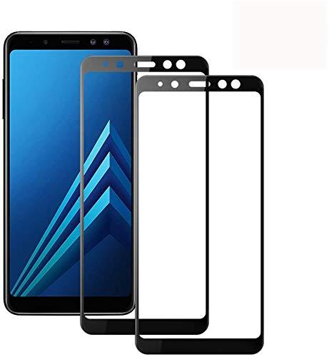 [2-Unidades] Protector de Pantalla Samsung Galaxy A8 2018, Modoca La protección más Simple y eficaz de la Pantalla [Cobertura Completa] Protector Cristal Vidrio Templado para A8 2018, Negro
