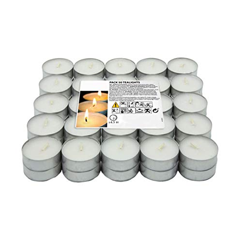 H HANSEL HOME 30-500 Velas de Te - Tealight - Blancas - Sin Perfume (50)