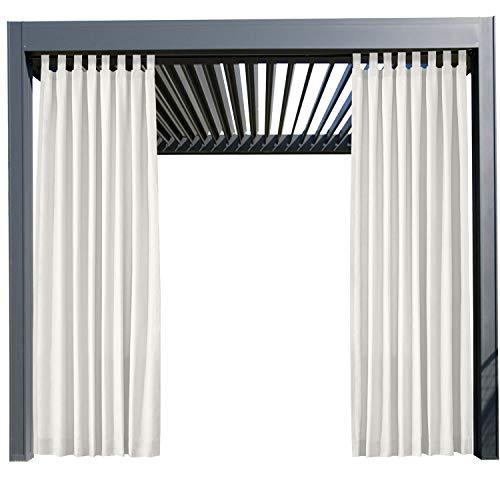Wasserdicht Terrasse Vorhänge Weiß 508B x 213H cm, Outdoor Vorhang mit Klettverschluss Tab Top für Veranda, Pergola, Cabana, Covered Patio, Gazebo und Beach Home
