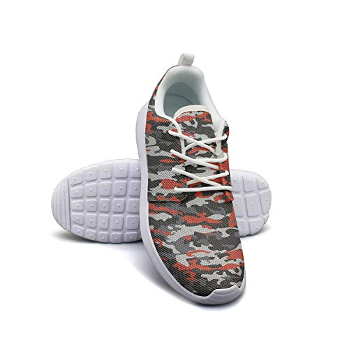 FRFGRG Camouflage Pattern red Gray Colors White Walking Shoes for Women Athletic Shock Absorption Mesh Best Running Shoes
