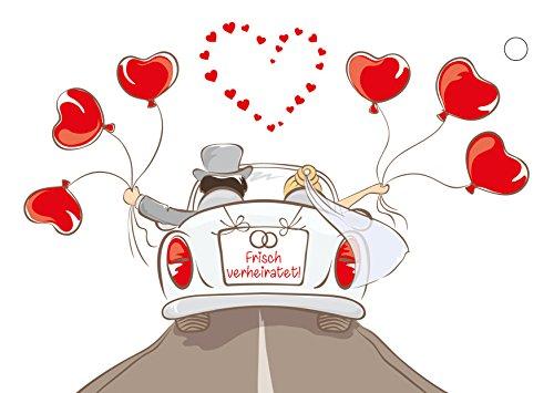 50 Ballonflugkarten für die Hochzeit Motiv Cabrio, extra leichte Ballonkarten, Ballon-weitflugkarten