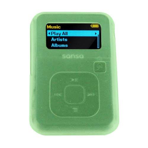 SanDisk Sansa Clip Plus Silicone Gel Skin Case Cover (GREEN)