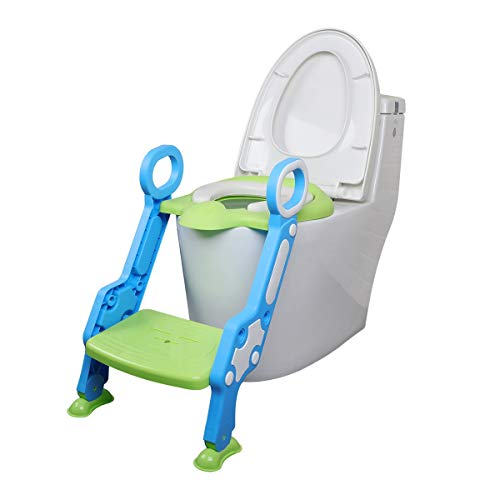 GOCART WITH G LOGO Portable Adjustable Foldable Potty Training Seat with Ladder for Kids (Green Color)