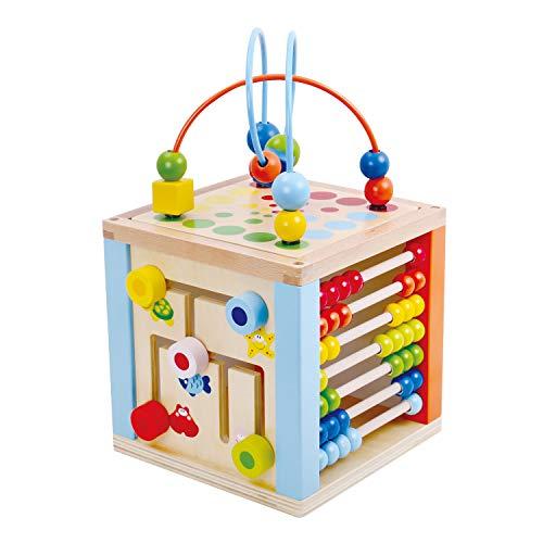 Tooky Toy Cube d'activité en Bois pour Bebe - Cube motorique - Horloge d'apprentissage - Jouet en Bois - Jeu Enfant - Labyrinthe - Boullier - adapté à partir de 3 Ans - env. 20 x 20 x 36 cm