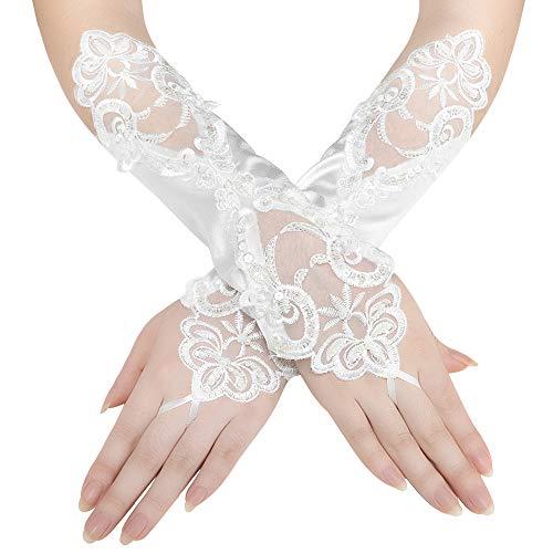 Coucoland Damen Kurze Satin 1920s Handschuhe Dekoriert mit Spitzen und Strass Gotische Halbhandschuhe für Opera Fest Retro Hochzeit Damen Fasching Kostüm Accessoires (30 cm/Elfenbein)