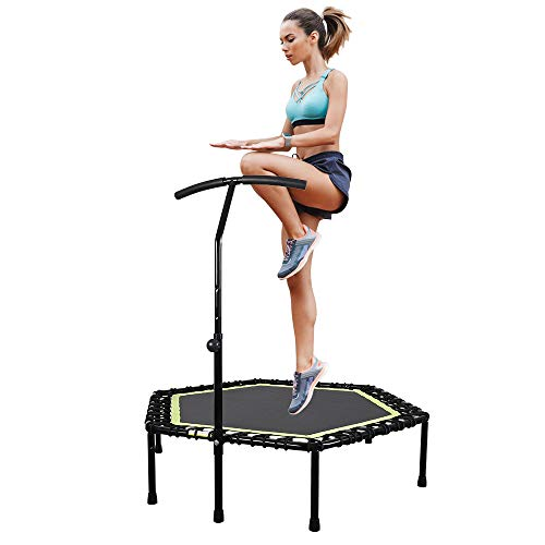 "ANTOPY 48"" Mini Trampoline Fitness Rebounder with Adjustable Handle Bar Bungee Cords Exercise Trampoline Indoor Outdoor Cardio Workout Equipment for Home Gym Adult Kids 330lbs/150kg"